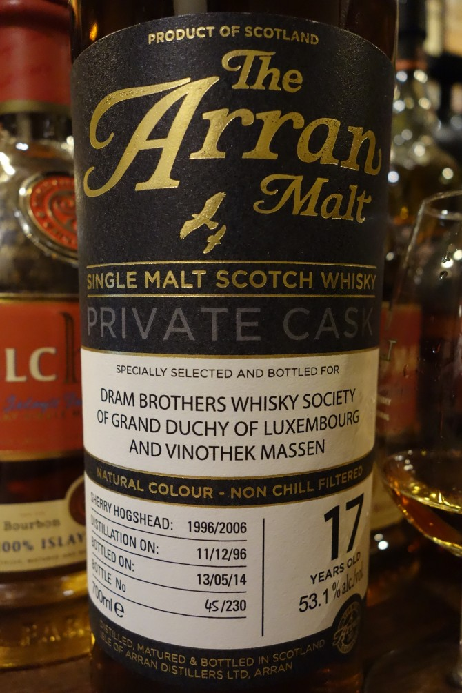アラン ISLE OF ARRAN 1996-2014 17yo OB PRIVATE CASK for DRAM BROTHERS WHISKY SOCIETY OF GRAND DUCHY OF LUXEMBOURG AND VINOTHEK MASSEN #1996/2006