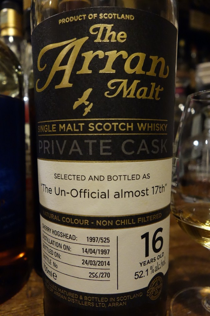 "アラン ISLE OF ARRAN 1997-2014 16yo OB PRIVATE CASK ""The UN-Official almost 17th"" #1997/525"