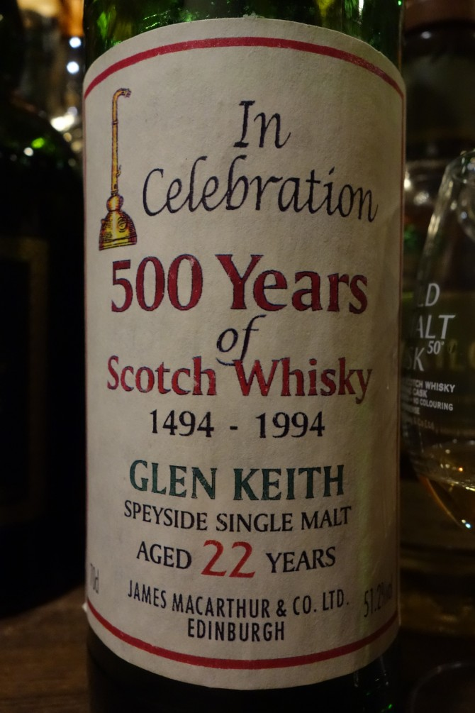 グレンキース GLENKEITH 22yo JAMES MACARTHUR'S In Celebration 500 Years of Scotch Whisky
