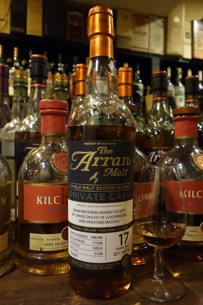 ISLE OF ARRAN 1996-2014 17yo OB PRIVATE CASK for DRAM BROTHERS WHISKY SOCIETY OF GRAND DUCHY OF LUXEMBOURG AND VINOTHEK MASSEN #1996/2006