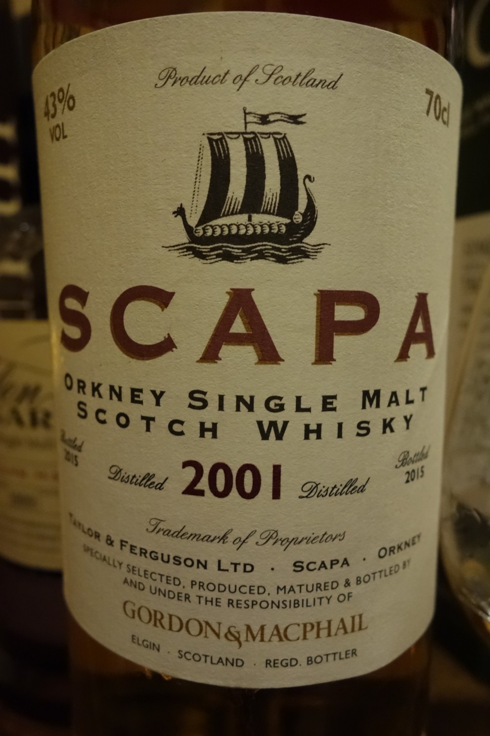スキャパ SCAPA 2001-2015 GM Distillery Labels