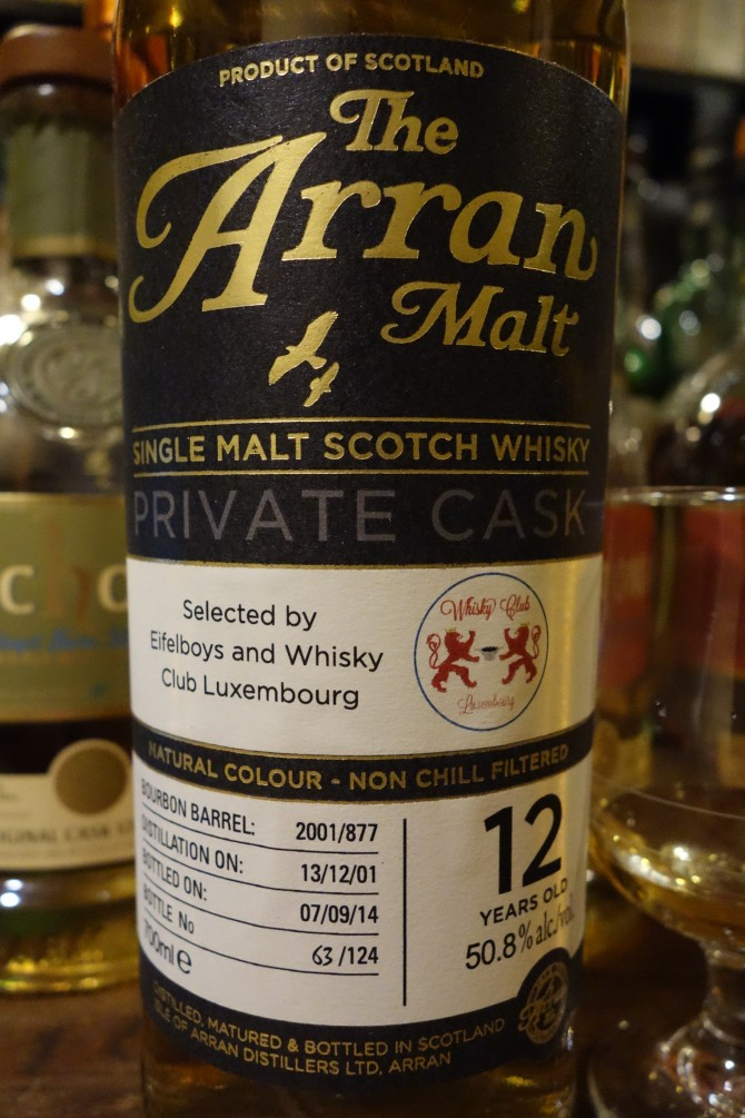 アラン ISLE OF ARRAN 2001-2014 12yo OB PRIVATE CASK for Eifelboys and Whisky Club Luxembourg #2001/877